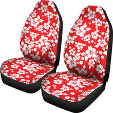 Load image into Gallery viewer, Red and White Hibiscus Flowers Hawaiian Flower Pattern Car Seat Covers