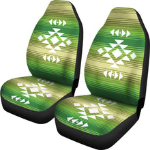 Load image into Gallery viewer, White Tribal Design on Green Serape Style Ethnic Pattern Car Seat Covers Set