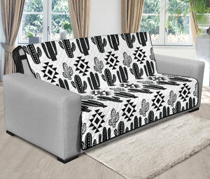 Black and White Boho Cactus Tribal Pattern Futon Slipcover Protector For Up To 70