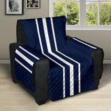 "Load image into Gallery viewer, Navy Blue With White Stripes Recliner Protector Slipcover For Up To 28"" Seat Width Chairs"