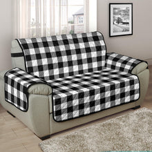 "Load image into Gallery viewer, Black White Buffalo Plaid 48"" Chair and a Half Sofa Couch Protector Cover Farmhouse Decor"