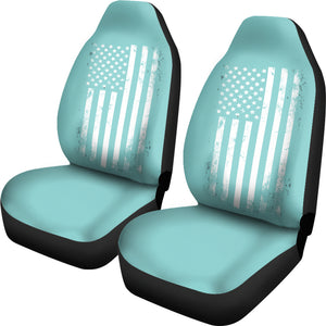 Teal With Distressed American Flag Car Seat Covers Set