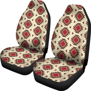 Navajo Inspired Native Tribal Ethnic Car Seat Covers in Creamy Beige and Red