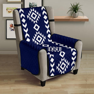"Navy White Tribal Ethnic Armchair Slipcover Protector For Up To 23"" Seat Width Chairs"