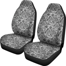 Load image into Gallery viewer, Rose Car Seat Covers Black White Roses Goth Gothic Emo Set Of 2 Front Bucket Seats SUV or Car