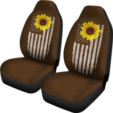 Load image into Gallery viewer, Distressed American Flag With Rustic Sunflower on Dark Brown Faux Suede Style Car Seat Covers