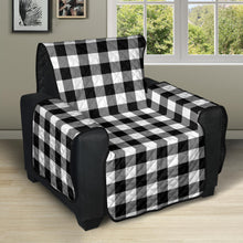 "Load image into Gallery viewer, Black and White Buffalo Plaid 28"" Recliner Chair Cover Protector Farmhouse Decor"