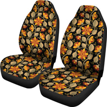 Load image into Gallery viewer, Black With Vintage Flower Pattern Car Seat Covers Set