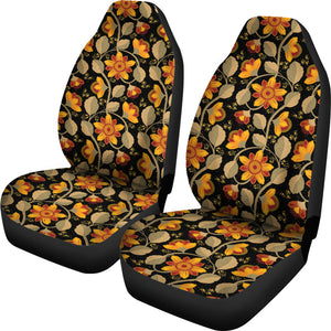 Black With Vintage Flower Pattern Car Seat Covers Set