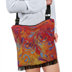 Colorful Batik Design Printed Canvas Boho Bag With Fringe and Crossbody Shoulder Strap Purse