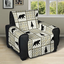 Load image into Gallery viewer, Yellow, Gray and Black, Bear and Plaid Pattern Recliner Slipcover Protector