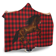 Jumping Horse on Buffalo Plaid Hooded Blanket