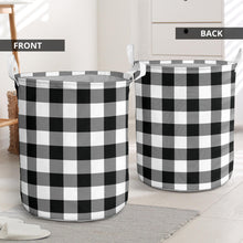 Load image into Gallery viewer, Black and White Buffalo Plaid Laundry Basket Hamper or Toy Storage Bin