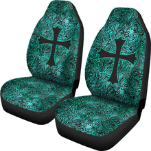 Load image into Gallery viewer, Turquoise Tooled Leather Style Pattern Car Seat Covers With Christian Cross