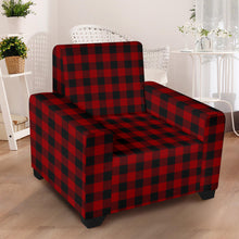 "Load image into Gallery viewer, Red and Black Buffalo Plaid Stretch Armchair Slipcover For Chairs Up To 43"" Wide"
