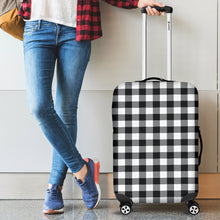 Load image into Gallery viewer, Black and White Buffalo Plaid Luggage Cover Suitcase Protector
