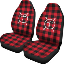 Load image into Gallery viewer, T- Arrow Monogram Red Buffalo Plaid Car Seat Covers