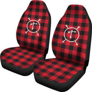 T- Arrow Monogram Red Buffalo Plaid Car Seat Covers