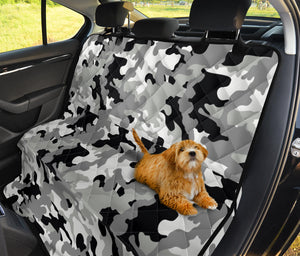 Gray, Black and White Camouflage Back Bench Seat Cover For Pets