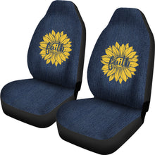 Load image into Gallery viewer, Faith Sunflower on Rustic Faux Dark Blue Denim Style Background Car Seat Covers