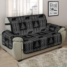Load image into Gallery viewer, Gray and Black Plaid With Bears and Pine Trees Rustic Patchwork Pattern on Chair and a Half