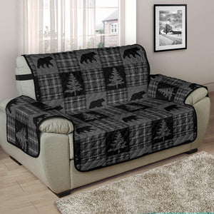 Gray and Black Plaid With Bears and Pine Trees Rustic Patchwork Pattern on Chair and a Half