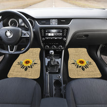 Load image into Gallery viewer, Full Set of 4 Sunflower Dreamcatcher Car Floor Mats Rustic Boho Burlap Design