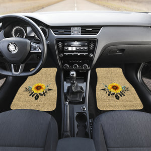 Full Set of 4 Sunflower Dreamcatcher Car Floor Mats Rustic Boho Burlap Design