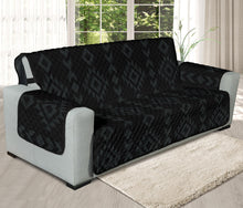 "Load image into Gallery viewer, Black With Gray Tribal Ethnic Pattern on 78"" Seat Width Oversized Sofa Couch Protector Slipcover"