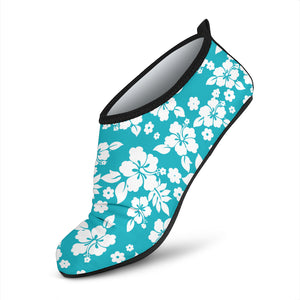 Teal and White Hibiscus Hawaiian Pattern Water Shoes