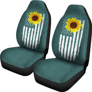 Distressed American Flag With Rustic Sunflower on Teal Faux Denim Style Car Seat Covers