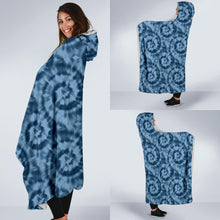 Load image into Gallery viewer, Blue Tie Dye Hooded Blanket With White Fleece Lining