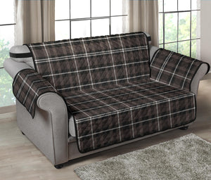 "Brown, Black and White Tartan Plaid 54"" Loveseat Cover Sofa Protector"