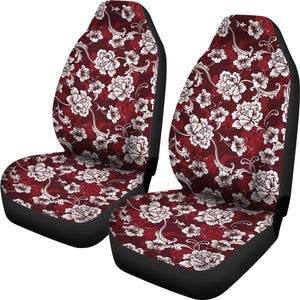 Dark Red and White Baroque Flower Pattern Car Seat Covers