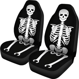 Skeleton Car Seat Covers Set of 2 Black and White