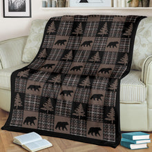 Load image into Gallery viewer, Brown and Black Country Plaid Patchwork Style Fleece Throw Blanket