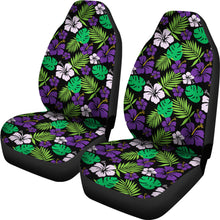 Load image into Gallery viewer, Purple and Green Hibiscus Flower Car Seat Covers Hawaiian Tropical Set of 2