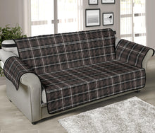 "Load image into Gallery viewer, Brown, Black and White Plaid Tartan 70"" Sofa Couch Protector Cover"