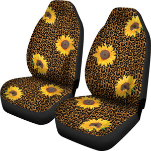Leopard Print With Rustic Sunflowers Car Seat Covers Seat Protectors