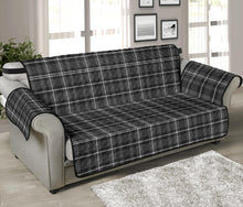 "Load image into Gallery viewer, Gray, Black and White Plaid Couch Protector Slipcover For 70"" Seat Width Sofas"