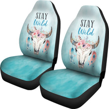 Load image into Gallery viewer, Turquoise Stay Wild Boho Skull Car Seat Covers