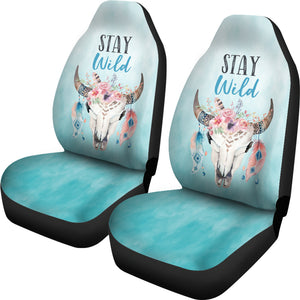 Turquoise Stay Wild Boho Skull Car Seat Covers