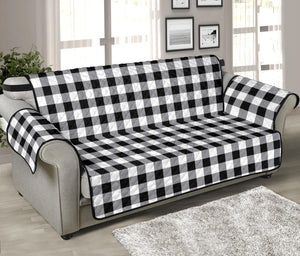 "Buffalo Check Sofa Protector Slipcover Black, White and Gray 70"" Seat Width"