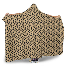 Load image into Gallery viewer, Tan Cheetah Print Hooded Blanket With Sherpa Lining Animal Skin Pattern