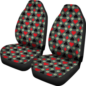 Gambling Casino Pattern Car Seat Covers Gray Red and Black