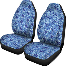 Load image into Gallery viewer, Blue Boho Flowers Shibori Dye Car Seat Covers