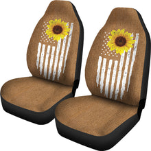 Load image into Gallery viewer, Distressed American Flag With Rustic Sunflower on Rust Colored Denim Style Car Seat Covers