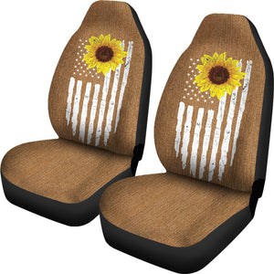 Distressed American Flag With Rustic Sunflower on Rust Colored Denim Style Car Seat Covers