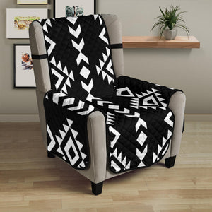 "Black With White Ethnic Tribal Pattern on 23"" Armchair Sofa Protector Slipcover"