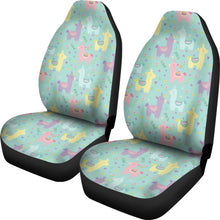 Load image into Gallery viewer, Pastel Mint, Yellow, Pink and Purple Spring Llama Pattern Car Seat Covers